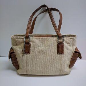 Fossil straw & canvas shoulder bag purse